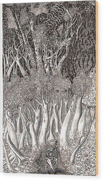 Revolution In Shitaki Forest Wood Print