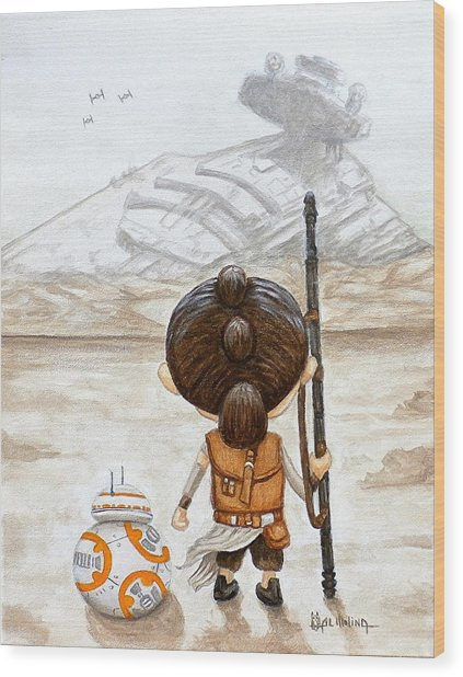 Rey With Bb8 Wood Print