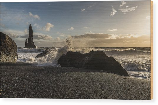 Wood Print featuring the photograph Reynisdrangar by James Billings