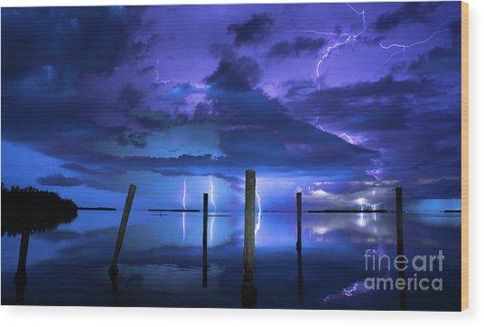 Blue Nights Wood Print