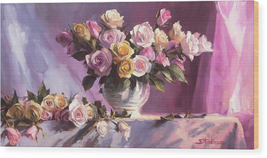Wood Print featuring the painting Rhapsody Of Roses by Steve Henderson