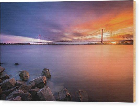 Rhine Bridge Sunset Wood Print