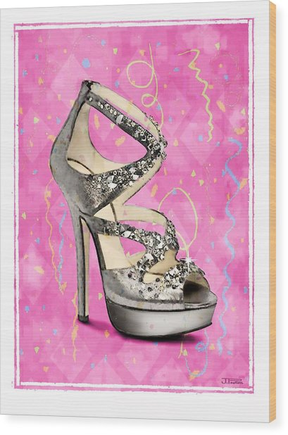 Rhinestone Party Shoe Wood Print