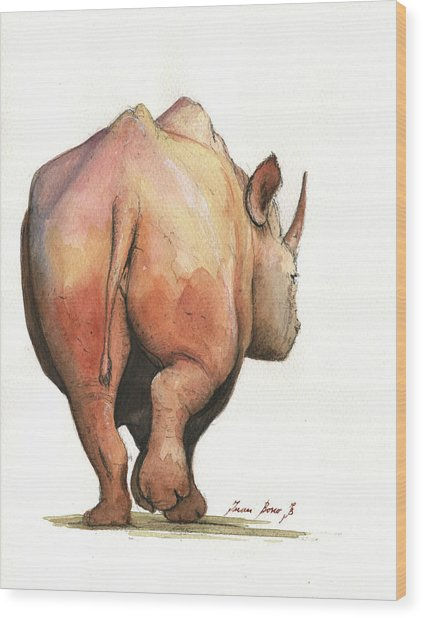 Rhino Back Wood Print