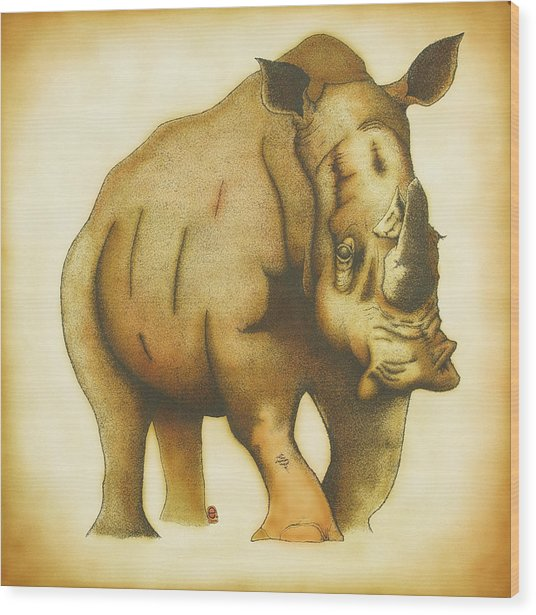 Rhino Wood Print by Erik Loiselle