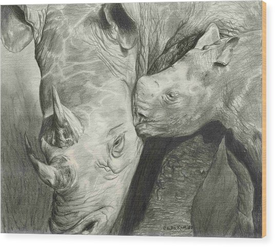 Rhino Love Wood Print