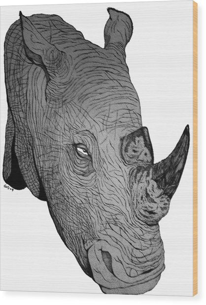 Rhino Wood Print by Nick Gustafson