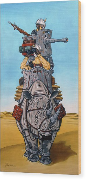 Rhinoceros Riders Wood Print