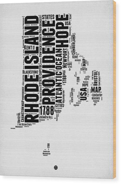 Rhode Island Word Cloud 1 Wood Print