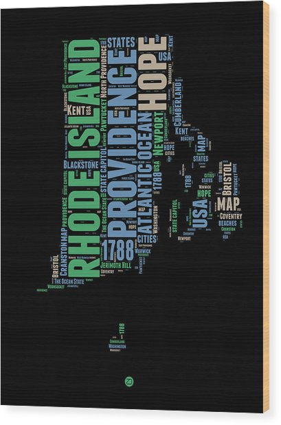 Rhode Island Word Cloud 2 Wood Print