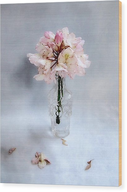 Rhododendron Bloom In A Glass Bottle Wood Print