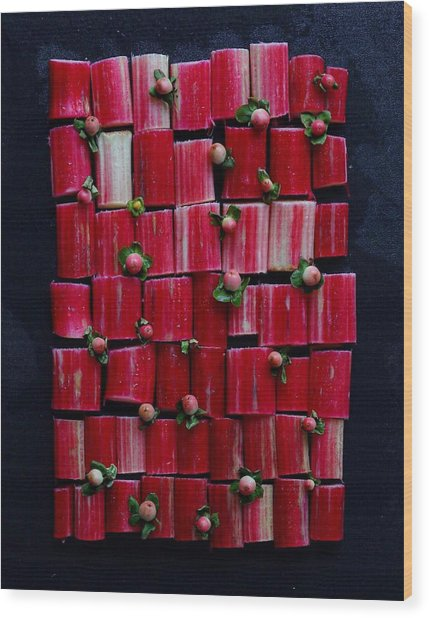 Rhubarb Wall Wood Print