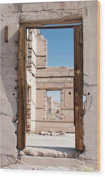 Rhyolite Through Windows Wood Print