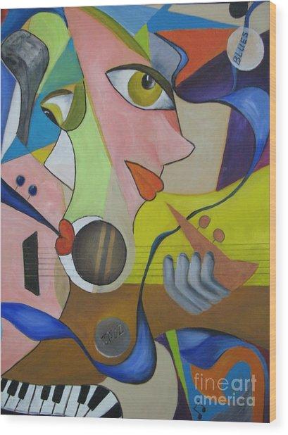 Ribbon Of Blues And Jazz Wood Print