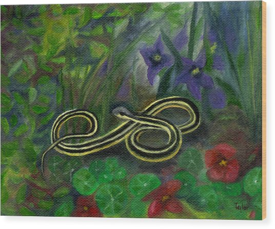 Ribbon Snake Wood Print