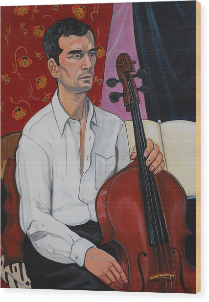 Ricardo With Cello Wood Print by Diana Blackwell