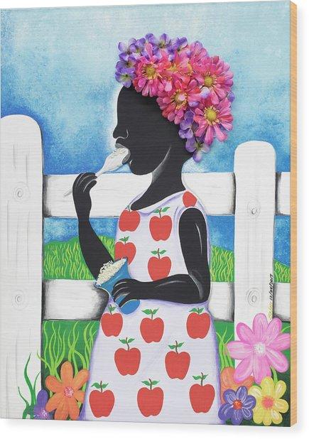 Rice Cream Girl Wood Print