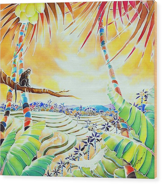 Wood Print featuring the painting Rice Terraces In The Sunset by Hisayo Ohta