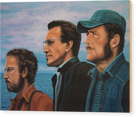 Jaws With Richard Dreyfuss, Roy Scheider And Robert Shaw Wood Print