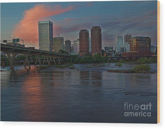 Richmond Dusk Skyline Wood Print