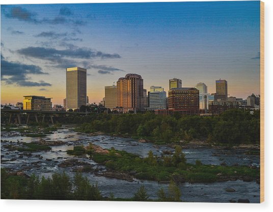 Richmond Skyline At Dusk Wood Print
