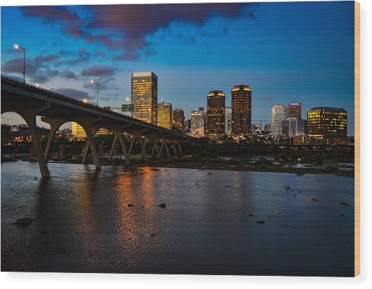 Richmond Skyline At Night Wood Print