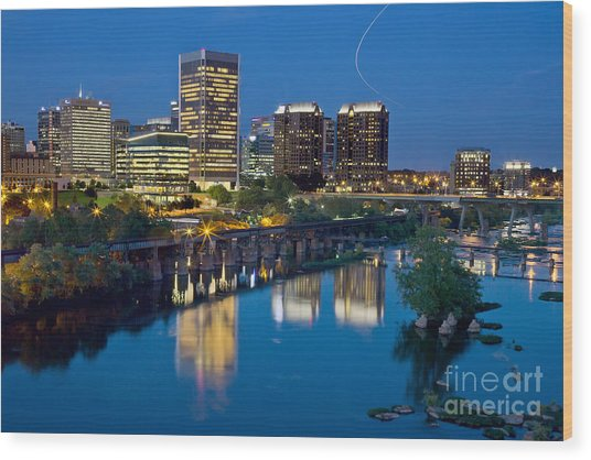 Richmond Skyline Helo Trail Wood Print