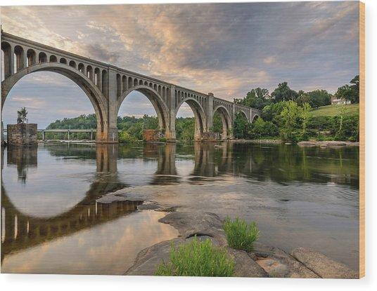 Richmond Train Bridge Wood Print by Michael Donahue