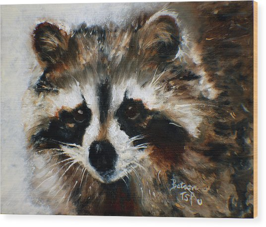 Rickey Raccoon Wood Print