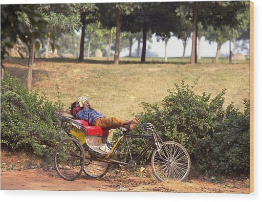 Rickshaw Rider Relaxing Wood Print