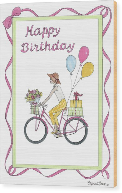 Ride In Style - Happy Birthday Wood Print