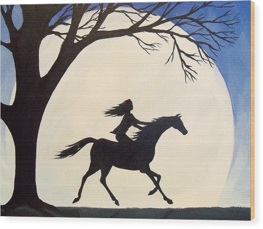 Ride Like The Wind  - Silhouette Girl Riding Horse Wood Print