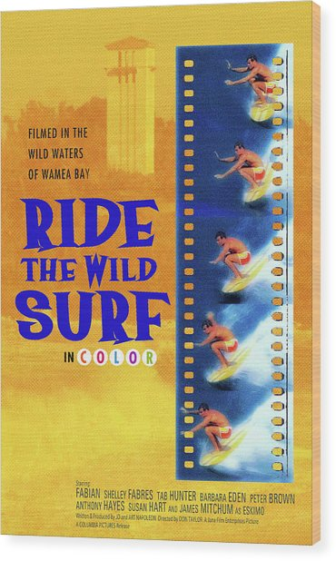 Ride The Wild Surf Vintage Movie Poster Wood Print