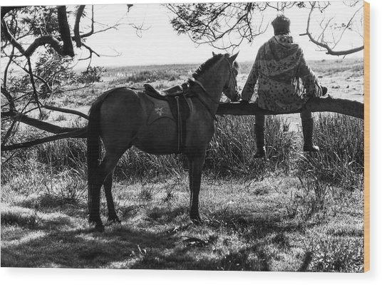 Rider And Horse Taking Break Wood Print