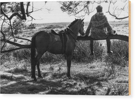 Rider And Horse Taking Break Wood Print
