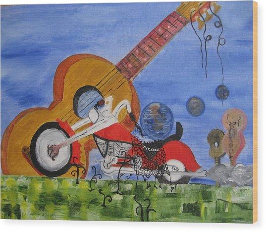 Rider Wood Print by Antonio Raul
