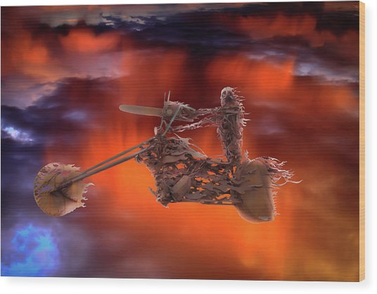 Rider In The Sky Wood Print
