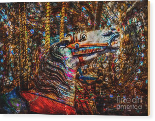 Wood Print featuring the photograph Riding A Carousel In My Colorful Dream by Michael Arend