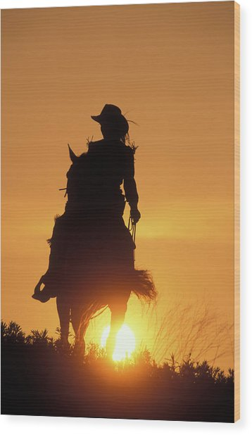 Riding Cowgirl Sunset Wood Print