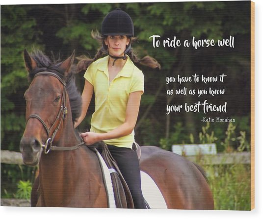 Riding Grace Quote Wood Print by JAMART Photography