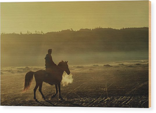 Riding His Horse Wood Print