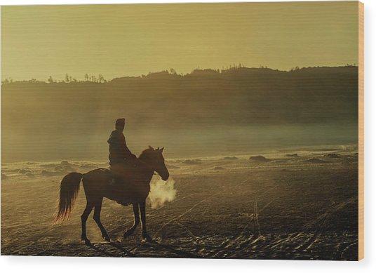 Riding His Horse Wood Print