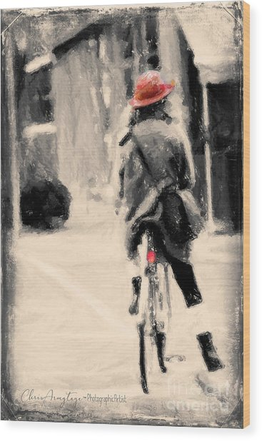 Riding My Bicycle In A Red Hat Wood Print