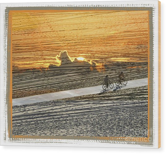 Riding Off Into The Sunset Wood Print by Chuck Brittenham