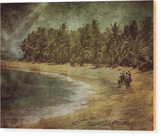 Riding On The Beach Wood Print