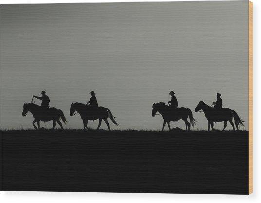 Riding The Range At Sunrise Wood Print
