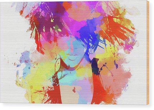 Rihanna Paint Splatter Wood Print