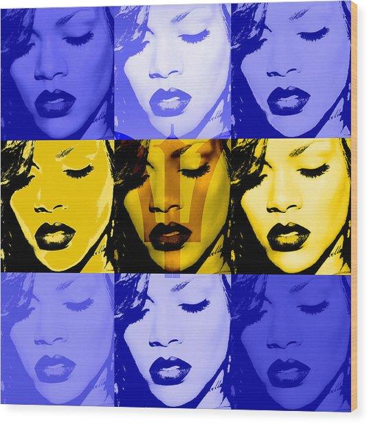 Rihanna Warhol Barbados By Gbs Wood Print