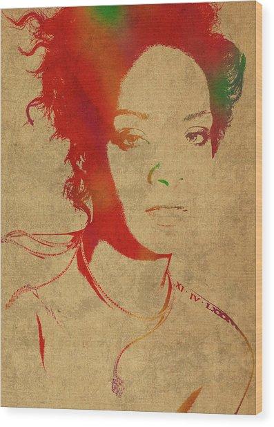 Rihanna Watercolor Portrait Wood Print