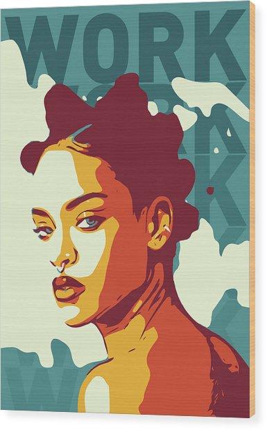 Rihanna Wood Print